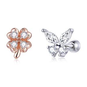 Cercei din argint Butterfly and Four Leaf Clover Studs