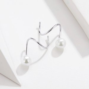 Cercei din argint Circle Pearl Earrings