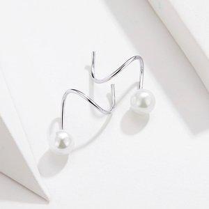 Cercei din argint Circle Pearl Earrings