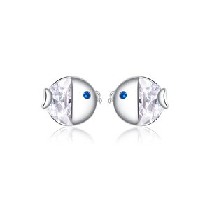 Cercei din argint Classic Clear Fish