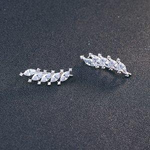 Cercei din argint Clear Crystal Leaf