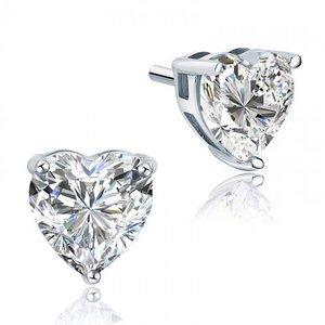 Cercei din argint Clear Diamond Heart