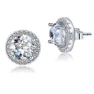 Cercei din argint Clear Round Diamonds