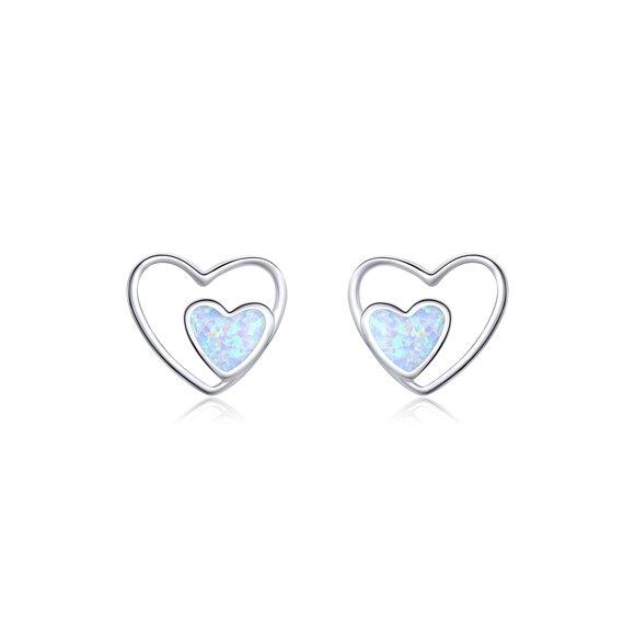 Cercei din argint Contour Heart