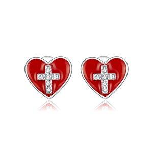 Cercei din argint Cross Red Heart
