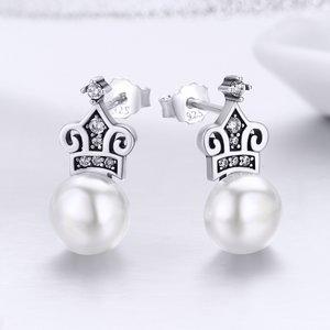 Cercei din argint Crown Pearls