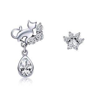 Cercei din argint Crystal Paw & Drop