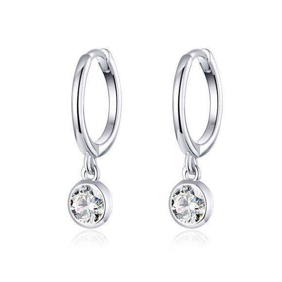 Cercei din argint Crystal Pendant Hoops