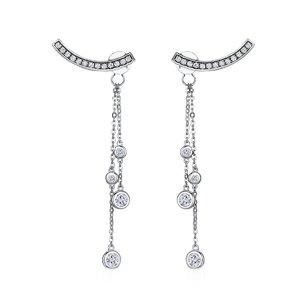 Cercei din argint Crystal Tassel Drop
