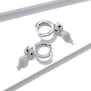 Cercei din argint Crystals Cats Hoops