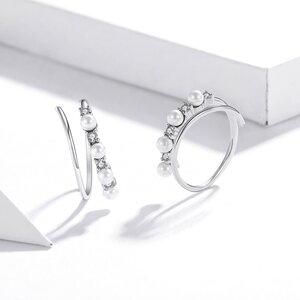 Cercei din argint Crystals & Pearls Swirls