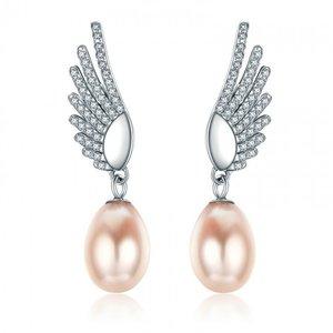 Cercei din argint cu Aripi si Perle Ovale