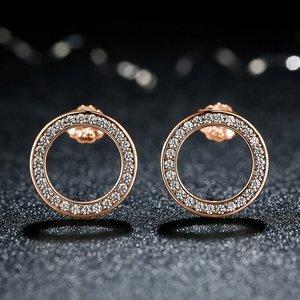 Cercei din argint cu Cerculete Aurii si Cristale