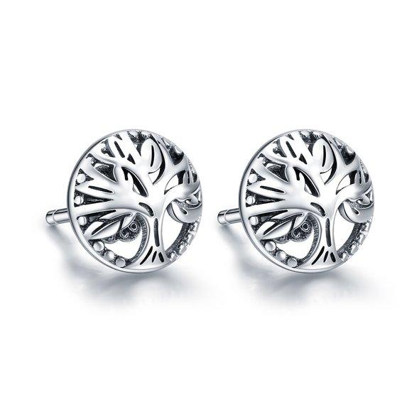 Cercei din argint cu Copacel Argintiu