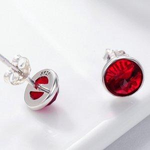 Cercei din argint cu Cristale Rosii
