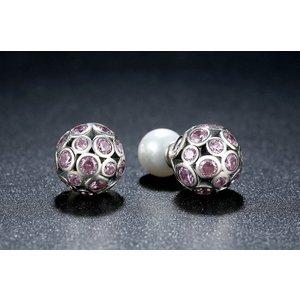 Cercei din argint cu Cristale Roz si Perlute