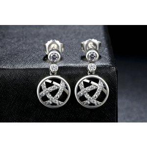 Cercei din argint cu Cristale si Model Impletit
