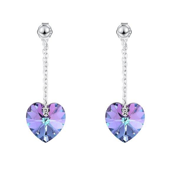 Cercei din argint cu cristale Swarovski Vitrail Light Crystal Hearts