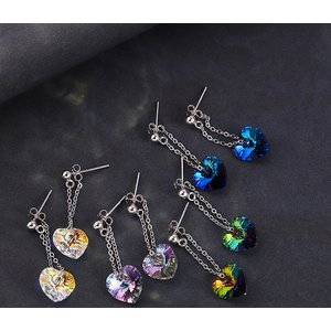 Cercei din argint cu cristale Swarovski Vitrail Medium Crystal Hearts