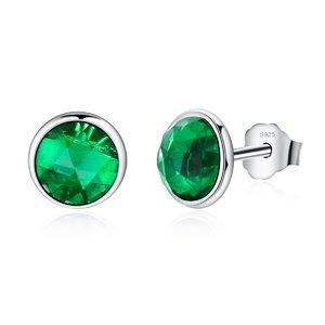 Cercei din argint cu Cristale Verzi