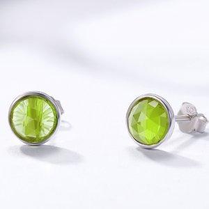 Cercei din argint cu Cristale Verzi Peridot