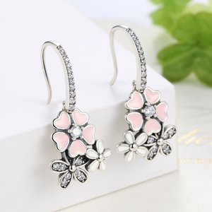 Cercei din argint cu Flori Colorate