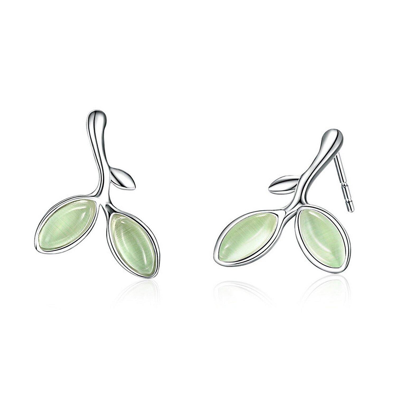 Cercei din argint cu Frunze Verzi