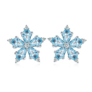 Cercei din argint cu Fulg de Nea si Cristale Albastre