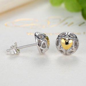 Cercei din argint cu Inima Aurie