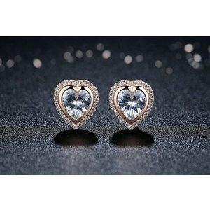 Cercei din argint cu Inima si Cristale