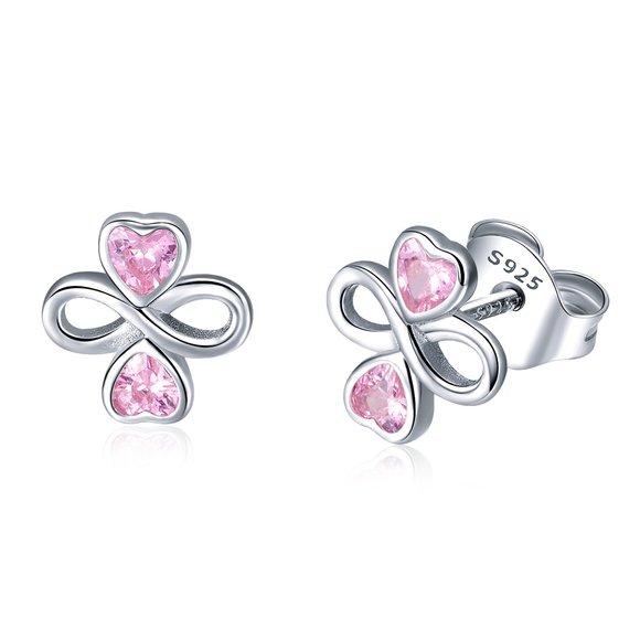 Cercei din argint cu Inimioare si Simbolul Infinitului
