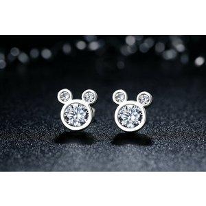 Cercei din argint cu Mickey si Cristale
