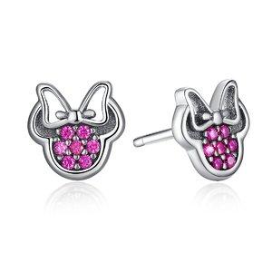 Cercei din argint cu Minnie si Cristale Colorate