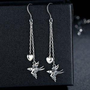 Cercei din argint cu Pasare si Inimioara