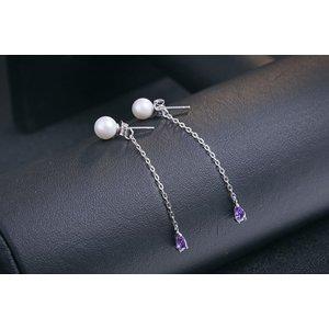 Cercei din argint cu Perle si Cristale Mov