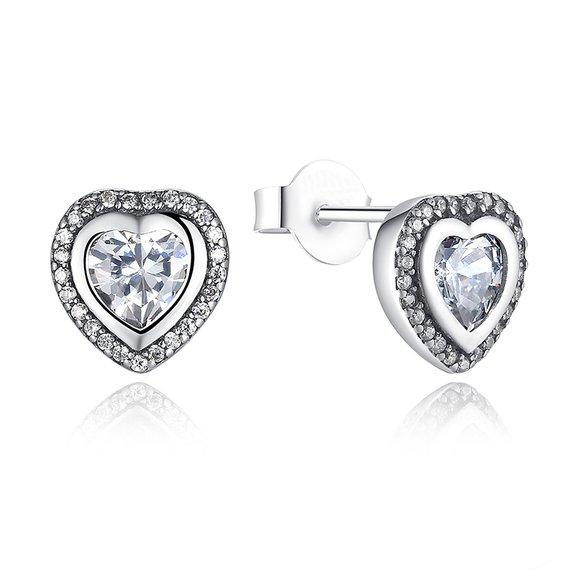 Cercei din argint cu surub Inima si Cristale