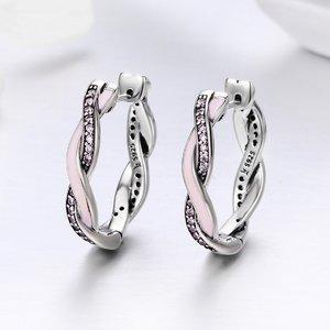 Cercei din argint cu Tortita Impletita roz