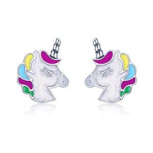 Cercei din argint cu Unicorn Colorat