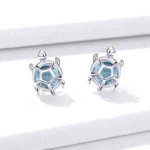 Cercei din argint Cute Blue Turtles