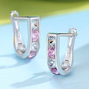Cercei din argint Cute Pink Crystal