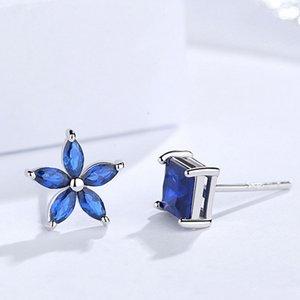 Cercei din argint Dark Blue Flower and Square