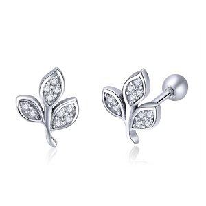 Cercei din argint Dazzling Little Leaf