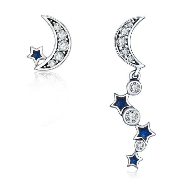 Cercei din argint Dazzling Stars and Moon