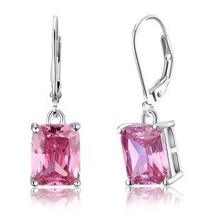 Cercei din argint Diamond Big Stone Pink