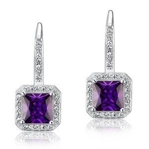 Cercei din argint Diamond Crystal Lady Purple