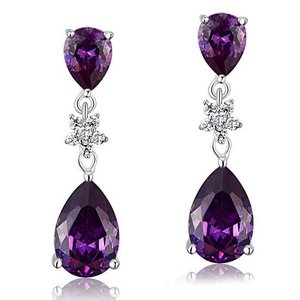 Cercei din argint Diamond Double Drop purple
