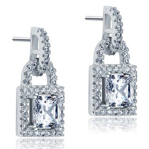 Cercei din argint Diamond Elegant Lock