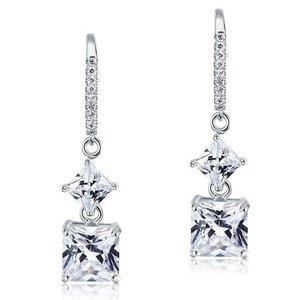Cercei din argint Diamond Square Cut