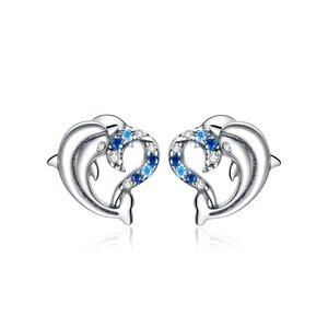 Cercei din argint Dolphin Love