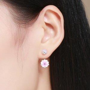Cercei din argint Double Pink Flower